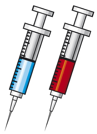 syringe with vaccine illustration