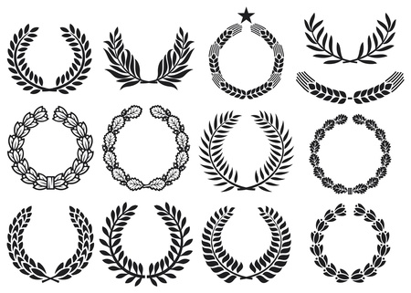 laurel leaf: Wreath set (wreath collection, laurel wreath, oak wreath, wreath of wheat, and olive wreath) Illustration