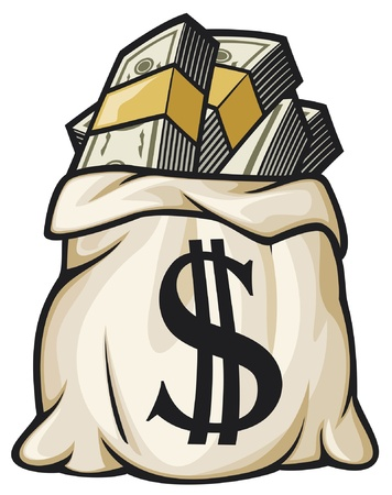 Money bag with dollar sign vector illustration  money bag filled dollars  Vector