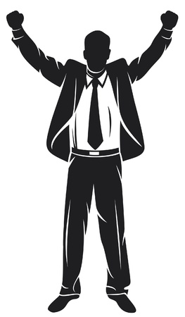 winning idea: businessman with arms up celebrating    Illustration