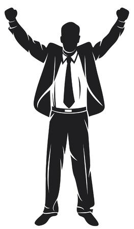 aspirace: obchodník s rukama nahoru slaví