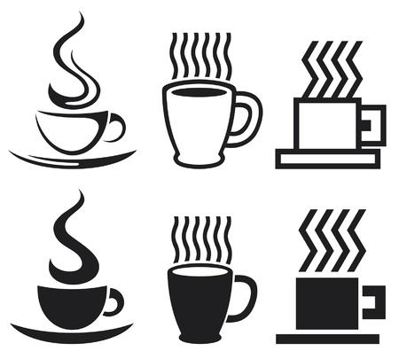 set of coffee cup icons  coffee cups, coffee mugs  Vector