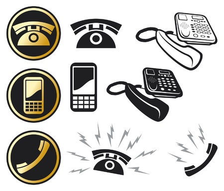 phone us: phone icon set  mobile phone button