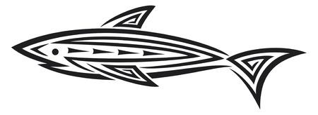 tail fin: Tatuaje tibur�n negro para el dise�o del tatuaje de tibur�n en estilo tribal, dise�o del tatuaje tribal Vectores