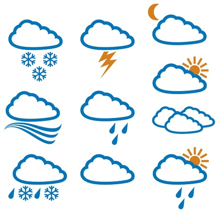 weather icons  weather buttons, weather symbols  Stock Vector - 14973357