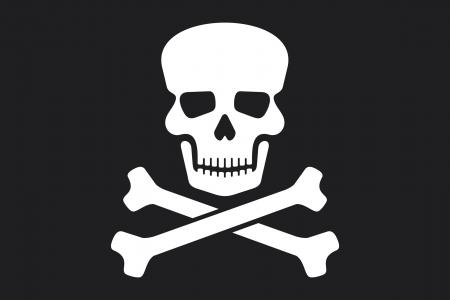bandera pirata Jolly Roger pirata con bandera de los huesos del cráneo y la cruz Ilustración de vector