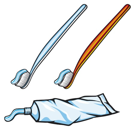 toothbrushes and  toothpaste Vector