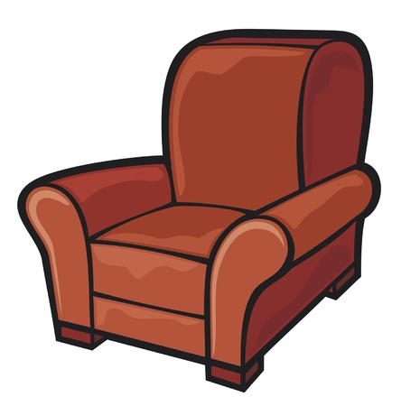 old furniture: armchair  leather tub chair  Illustration