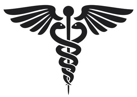 caduceo: caduceo médico emblema símbolo de la farmacia o medicina, muestra médica, símbolo de la farmacia, farmacia símbolo de la serpiente