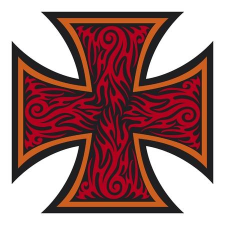 j�sus croix: croix de fer de style de style de tatouage tribal Illustration