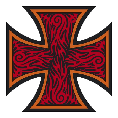 jesus on cross: Iron Cross stile stile tatuaggio tribale