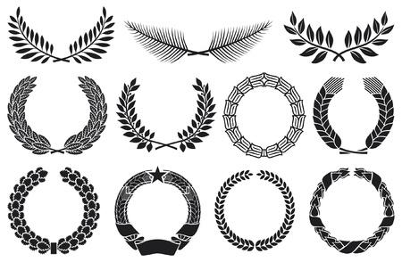 foglie ulivo: Corona corona set di raccolta, corona di alloro, corona di quercia, ghirlanda di grano, corona di palma e corona d'oliva
