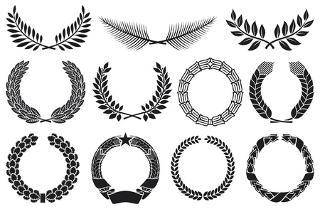 palm leaf: Wreath set  wreath collection, laurel wreath, oak wreath, wreath of wheat, palm wreath and olive wreath