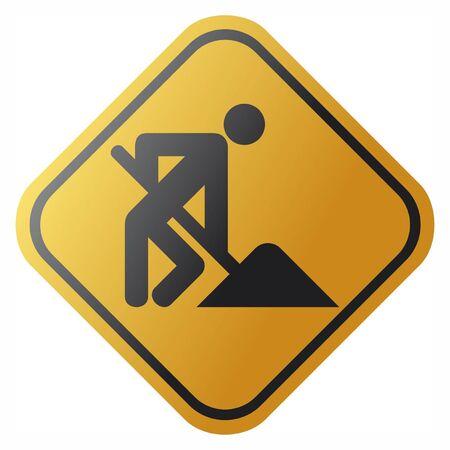 beware: under construction  under construction road sign with man, under construction icon, under construction symbol  Illustration