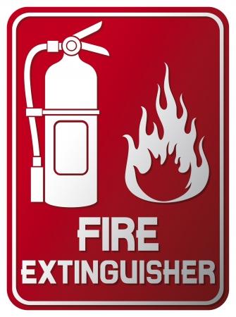 se�ales de seguridad: Extintor signo de fuego extintor s�mbolo, etiqueta Vectores