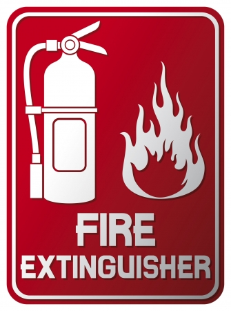 prevencion de accidentes: Extintor signo de fuego extintor s�mbolo, etiqueta Vectores