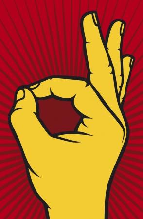 Menselijke ok handteken OK handsymbool Vector Illustratie