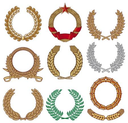 Conjunto corona (colección corona, corona de laurel, guirnalda de roble, guirnalda de trigo) Ilustración de vector