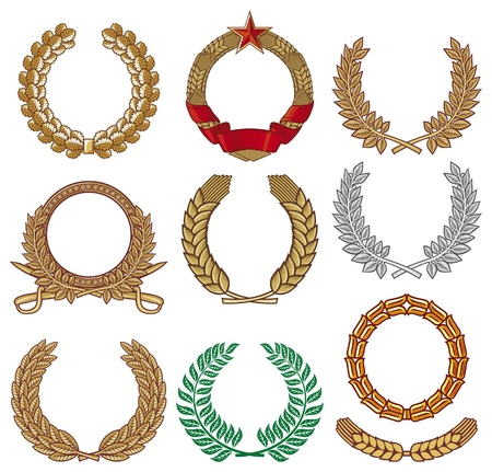 Wreath set (wreath collection, laurel wreath, oak wreath, wreath of wheat) Vector