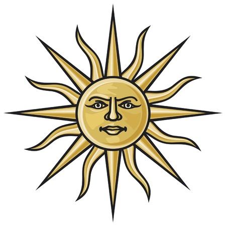 słońce: symbol słońca (heraldyczny słońce) Ilustracja