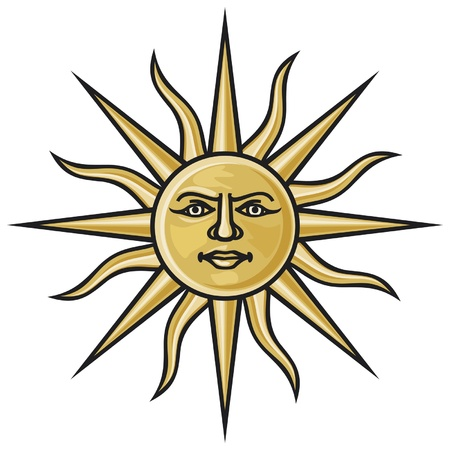 sun icon: symbol sun (heraldic sun) Illustration