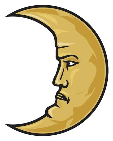 star and crescent: cara de luna creciente Vectores