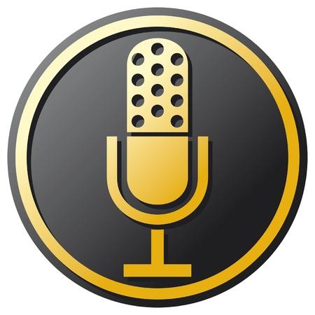 mic: retr� icona del microfono (microfono icona, simbolo del microfono classico)