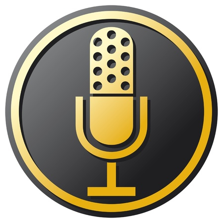 radio microphone: retro microphone icon (microphone Icon, classic microphone symbol) Illustration