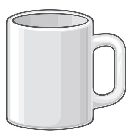 coffee mug (white cup) Vector