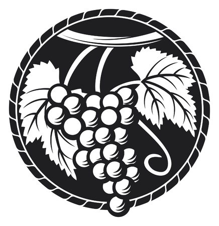 wine label design: grapes symbol (grapes design, grapes label) Illustration