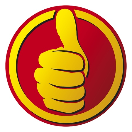 approval icon: Vector hand showing thumbs up button (thumbs up icon)