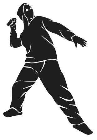 demostrador (hooligan, ventilador, hombre protesta) Ilustración de vector