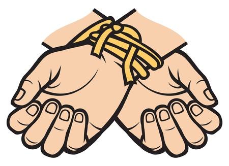 ligotage: les mains li�es