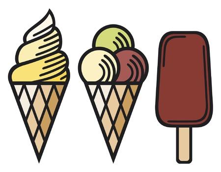 ice cream collection (ice cream icon, set of ice cream, ice cream cones) Stock Vector - 14973439