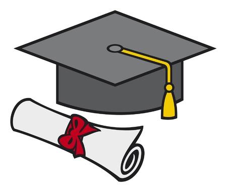 alumnus: graduation cap and diploma (black graduation mortar board hat with gold trim)