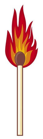 Burning match stick on a white background Vector