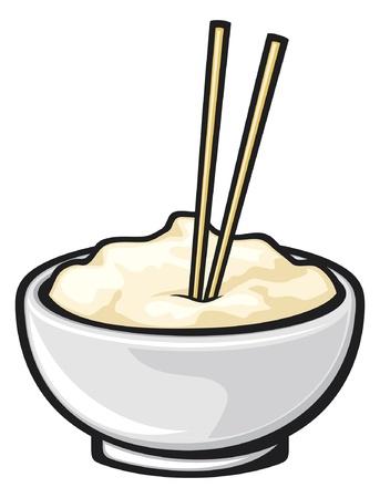 arroz chino: comida china y el cuenco de fideos con palillos blanco palillos Vectores