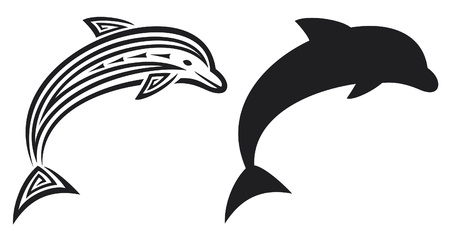 teutonic: dolphin tribal tattoo design  dolphin tattoo in tribal style  Illustration