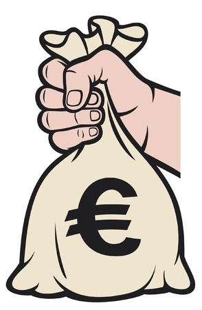bag of money: hand holding money bag with euro sign  hand with a bag of money  Illustration