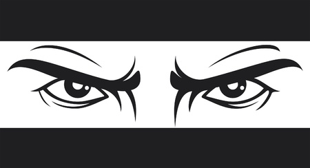 angry look: angry look  Bad eyes  Illustration
