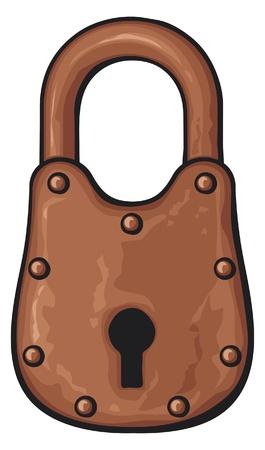 old padlock: illustration of rusty padlock (old padlock Illustration