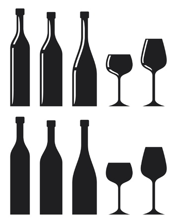 glass wine: bottle of wine and glass (wine glass and bottle) Illustration