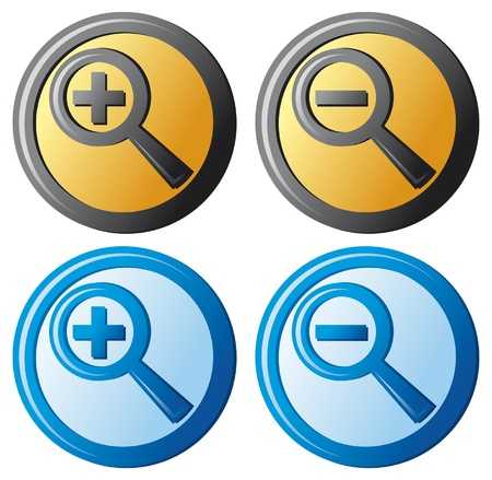 zoom icons (magnifier button, search icon, zoom icons set) Vector