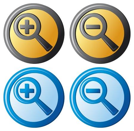 search icon: Zoom-pictogrammen (vergrootglas-knop, zoeken pictogram, zoom pictogrammen set) Stock Illustratie