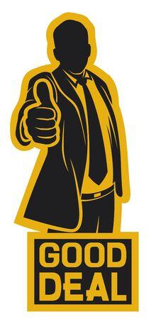 buen trato: buena oferta (hombre de negocios que muestran los pulgares para arriba Vectores