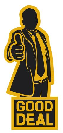 good deal: good deal (businessman showing thumbs up Illustration