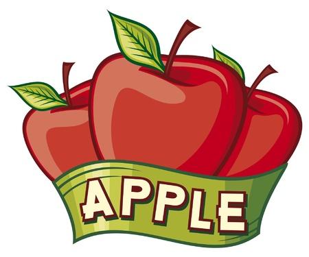 apple juice: apple label Illustration