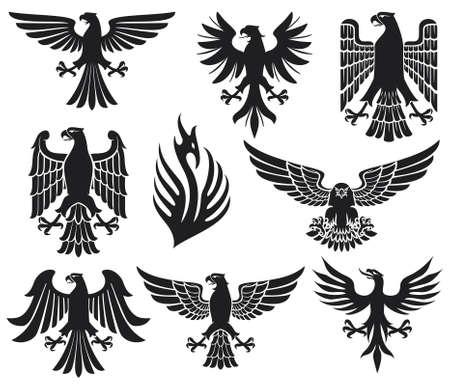 silhouette aquila: araldico eagle set (aquile sagome, elementi di design araldici, raccolta aquila) Vettoriali