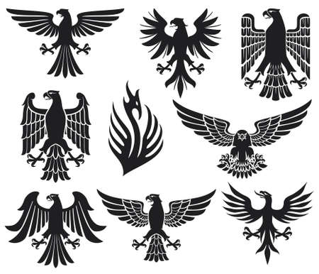 the air attack: heraldic eagle set (eagles silhouettes, heraldic design elements, eagle collection)