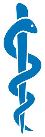 Símbolo médico del caduceo con el emblema de serpiente palo para farmacia o medicina, muestra médica azul, símbolo de la farmacia, farmacia símbolo serpiente